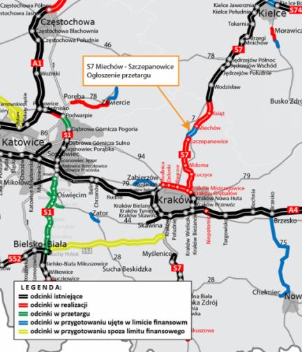 Projekt i budowa odcinka drogi ekspresowej S7 Miechów – Szczepanowice